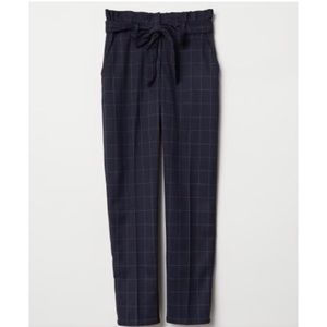NWT H&M checked paper bag pant navy size 12